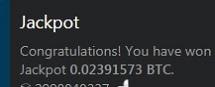 Jackpot 08/08 0.02391573BTC